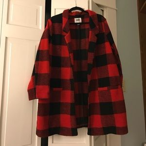 Red and black plaid coat